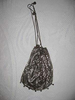 Vintage 1920's Silver Mesh Bag with Chains
