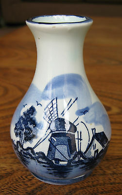 Miniature Hand Painted 'Dutch'  Ceramic Vase with Traditional Scene.