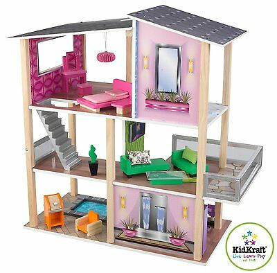 Large Modern Dollhouse 20 Piece Furniture Set Wooden Doll House Toy Condo