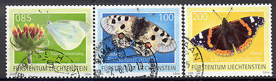 Liechtenstein - Nice lot of 3 used butterfly stamps  Lot # 82