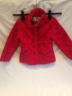 NEXT Girls Red Quilted Winter Coat Age 7-8 VGC