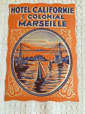 Early 1900s Hotel Californie & Colonial Marseille Luggage Label Tag