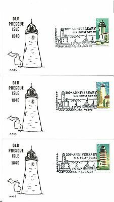 5   FIRST DAY COVERS   200th ANNIVERSARY  US COAST GUARD  1990  Old Presque Isle