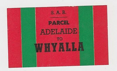 Old SAR South Australia Railways Parcel label Adelaide to Whyalla