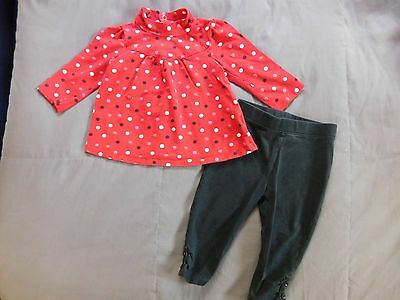 Lot of 2 Jumping Beans Baby Girls Top & Leggings 12 mos.