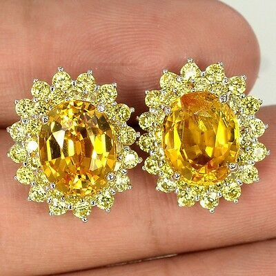 10.9 Ct  Yellow Sapphire Oval Facet Handmade Silver 925 Earrings