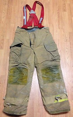 Janesville Lion Apparel Firefighter Pants Turnout Gear w/ Suspenders Size 38R #2