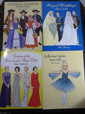 Lot of 4 Tom Tierney Paper Doll Books Colonial Royals Fairies First Ladies Uncut