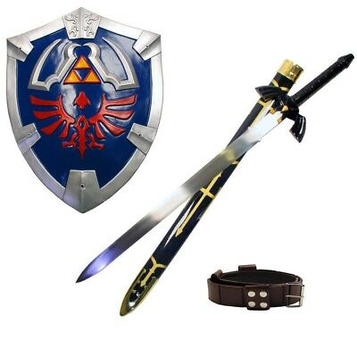 THE LEGEND OF ZELDA REAL STEEL MASTER SWORD SHIELD BELT SET costume link hylian