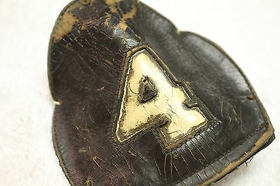 Vintage Fire Dept Helmet Front Shield Leather BOSTON, MA -Engine 4- Beacon Hill