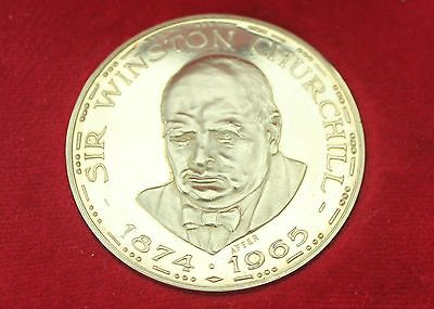 SIR WINSTON CHURCHILL 18ct SOLID GOLD COMMEMORATIVE MEDAL BY METALIMPORT LTD