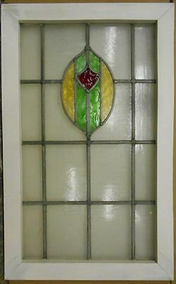 """LARGE OLD ENGLISH LEADED STAINED GLASS WINDOW Nice Shield Design 19"""" x 31"""""""