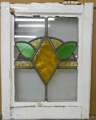 """OLD ENGLISH LEADED STAINED GLASS WINDOW Abstract Floral 13.75"""" x 17.5"""""""