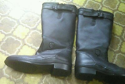 Ariat black leather horse riding tall boots us size 4, uk size 3, eur 34.5