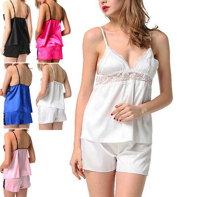 Womens Short Satin Pajama Set Cami Top and Shorts Sleepwear Babydoll Nightie