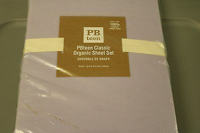 NEW 4PC POTTERY BARN PB TEEN WILD ORCHID SUITE ORGANIC SHEET SET NWT SOLD OUT