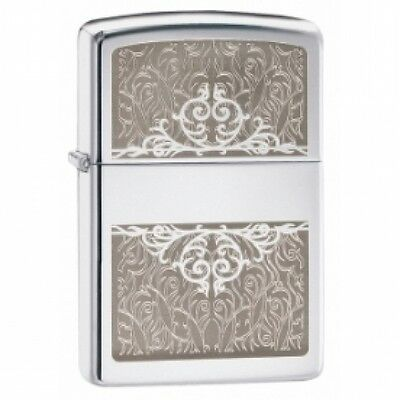 Zippo Filigree Initial High Polish Chrome Windproof Lighter Brand New