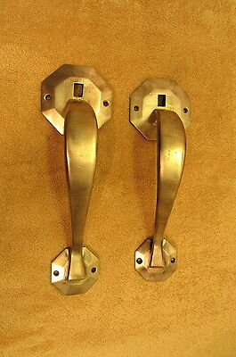 Vintage Pair Of Solid Brass Door Handles
