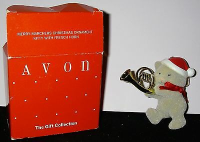NOS Avon Christmas Ornament ~ Merry Marchers ~ Kitty with Horn Ornament