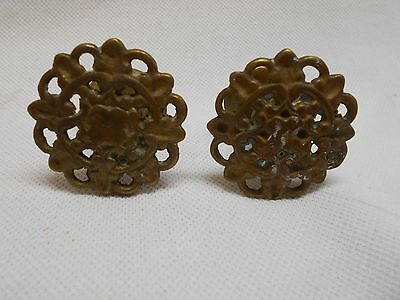 set of 2 antique brass fancy intricate furniture drawer knobs