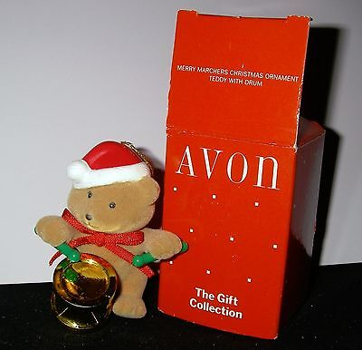 NOS Avon Christmas Ornament ~ Teddy with Drum ~ Merry Marchers