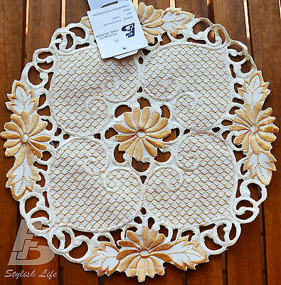 """2x  Placemat with Embroidered  Flowers Round 30cm (12"""") , FFD024C"""