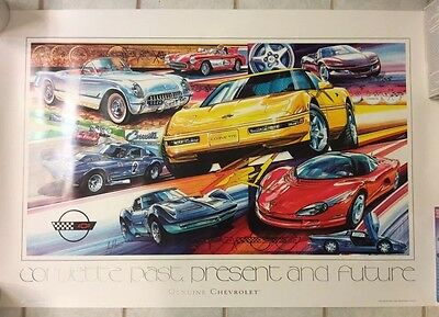 Corvette Past Present and Future Poster by Tony Warren 1994 Nice Ready To Frame