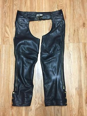 Vintage California Creations Black Leather Motorcycle Biker Chaps Mens Xl Usa