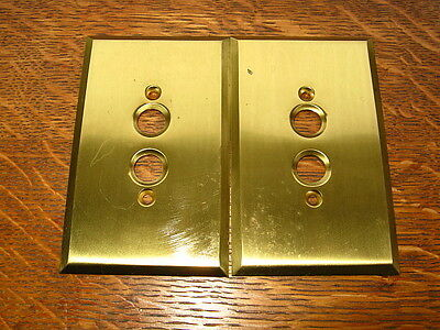 Set Of 2 Vintage Brass Pushbutton Switchplate Covers