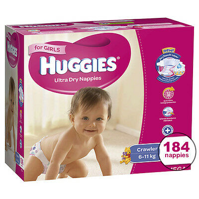 Huggies® Crawler Nappies For Girls 6-11Kg 184 Ultra Dry Nappies