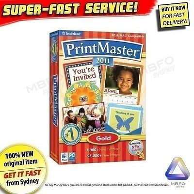 PrintMaster GOLD for Windows 7 XP Vista NEW! graphic design printing PC software
