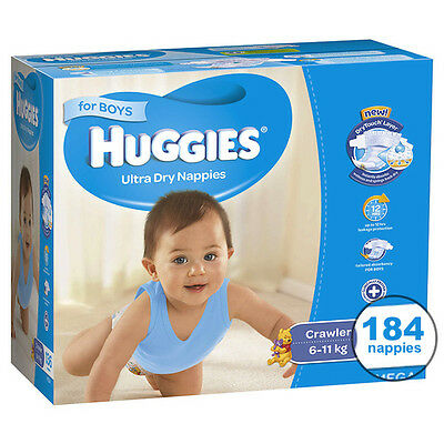 Huggies® Crawler Nappies For Boys 6-11Kg 184 Ultra Dry Nappies