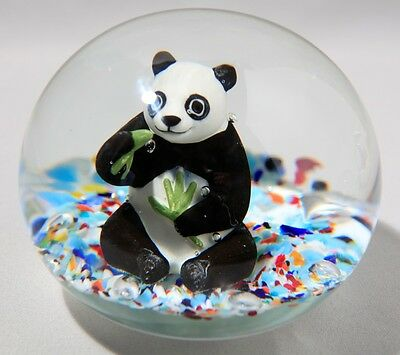 Huge Magnum Size Gibson Glass Panda Sulphide Paperweight