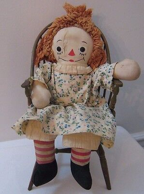 "Vtg 1947 Georgene 16"" Raggedy Ann Doll Blue Pink Cherries on Dress, Bloomers"
