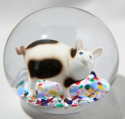 Magnum 7 Pound Gibson Glass Sulphide Doorstop  Paperweight With Pig