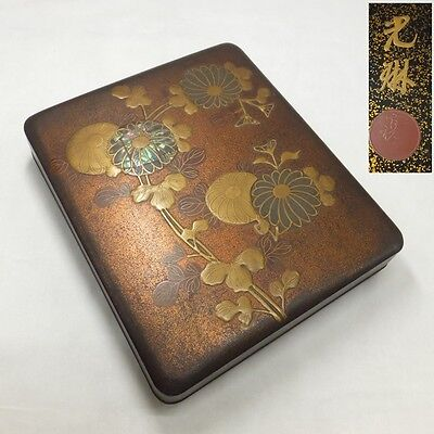 D614: Real old Japanese lacquer ware ink stone case with great KORIN MAKIE