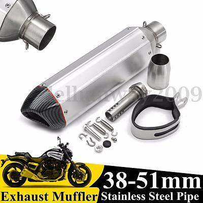 38-51mm Universal Motorcycle Exhaust Muffler w/ Removable Silencer Street Bike