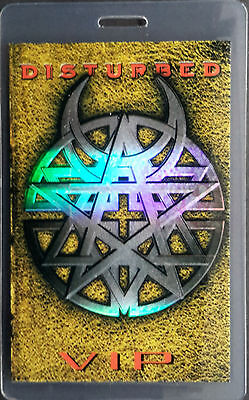 ***** DISTURBED ***** - LAMINATED BACKSTAGE PASS - VIP - with amazing laser foil