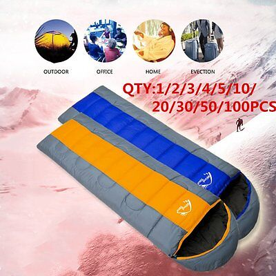 100PC Waterproof Adult Warm Winter Camping Hiking Portable Envelope Sleeping Bag