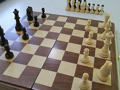 Wooden fold up chess board with pieces and storage