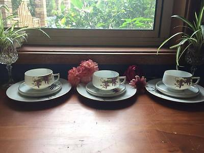 Antique Japanese Fine Bone Tea cup & Saucer x3