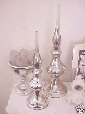 "Stunning Mercury Glass Huge 21"" Tall Finial *gorgeous* Reproduction"