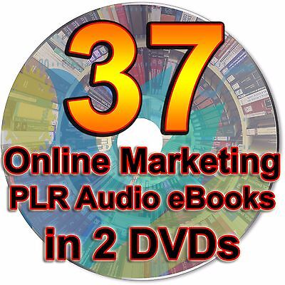 37 Online Marketing PLR Audio eBooks Business Resell Rights Private Label 2 DVDs