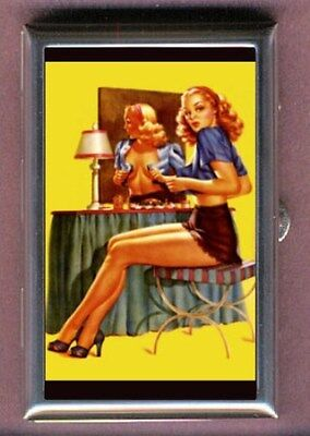 Retro Pin Up Girl Blonde Dressing Coin, Mint, Pill Box USA Made