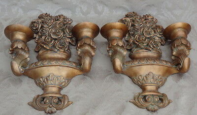 Mid Century Hollywood Regency Italian Gold Wall Sconces Pair Garden Urn Roses