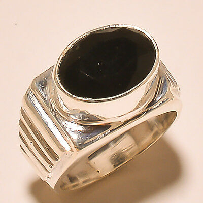 Russian Black Onyx Gemstone 925 Sterling Silver Ring 7.8''