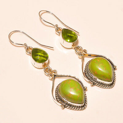 Copper Green Turquoise  925 Sterling Silver Jewelry Earring 2.7""