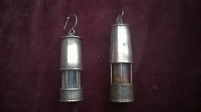 vintage brass miniature miners lamps x2