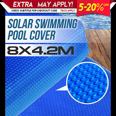 NEW SOLAR SWIMMING POOL COVER 8m X 4.2m Outdoor Bubble Blanket Heat Absorption