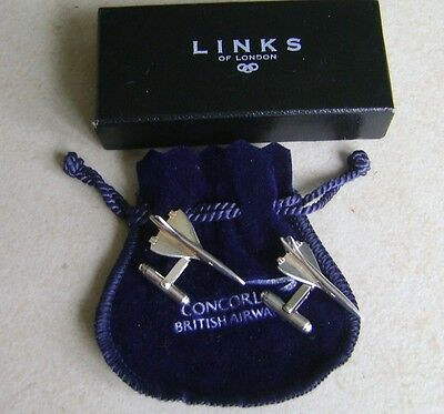 British Airways Concorde Links of London Hallmarked Silver Cufflinks